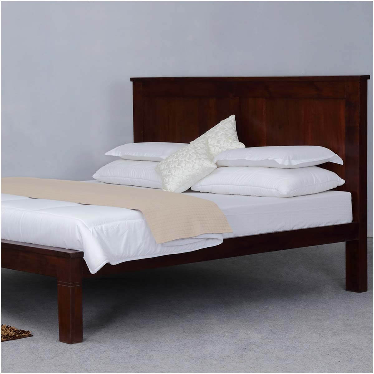 simply mission acacia wood handcrafted platform bed frame w headboard. Black Bedroom Furniture Sets. Home Design Ideas