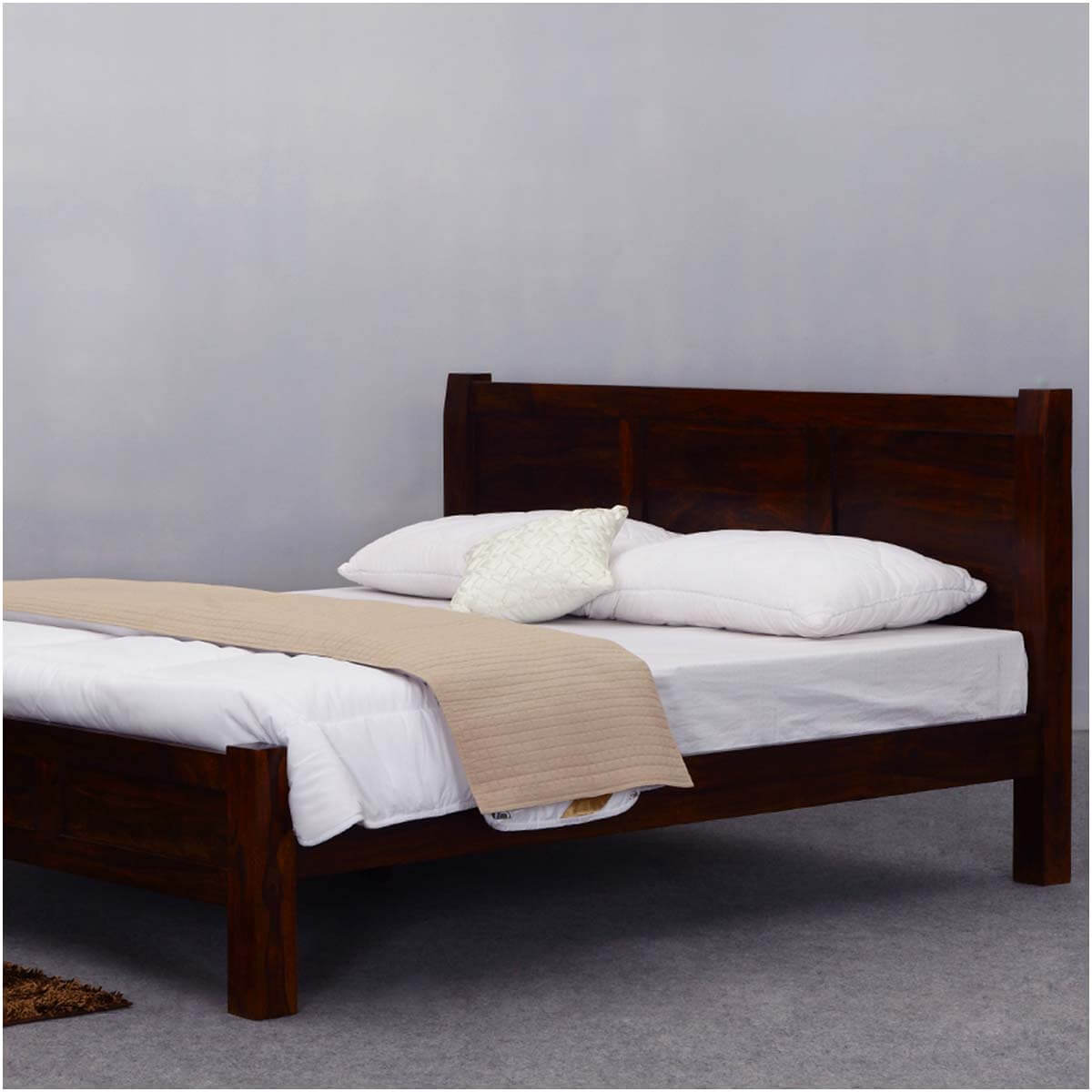 Wood Bed Headboards ~ Rustic mediterranean solid wood modern style bed frame w