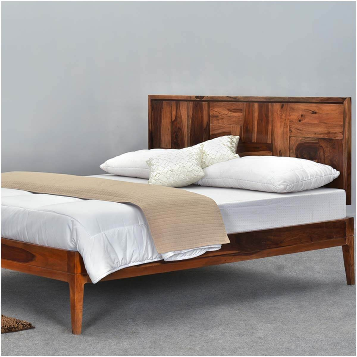Sunrise Modern Pioneer Solid Wood Platform Bed Frame W