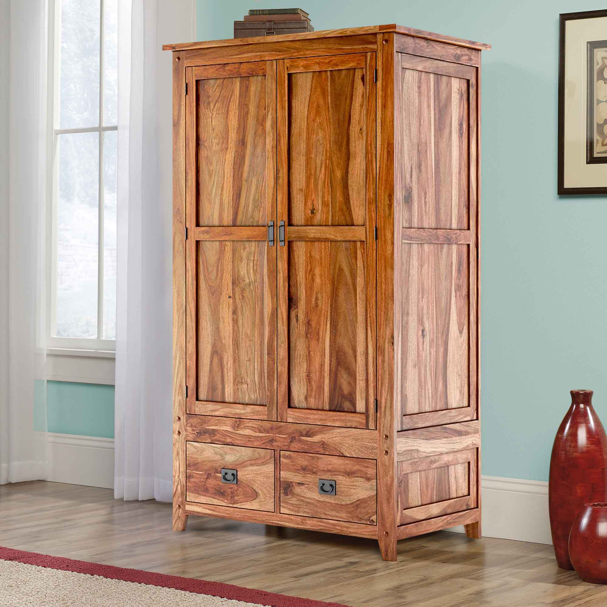 Wooden Wardrobe Cabinet ~ Delaware solid wood drawer rustic armoire closet