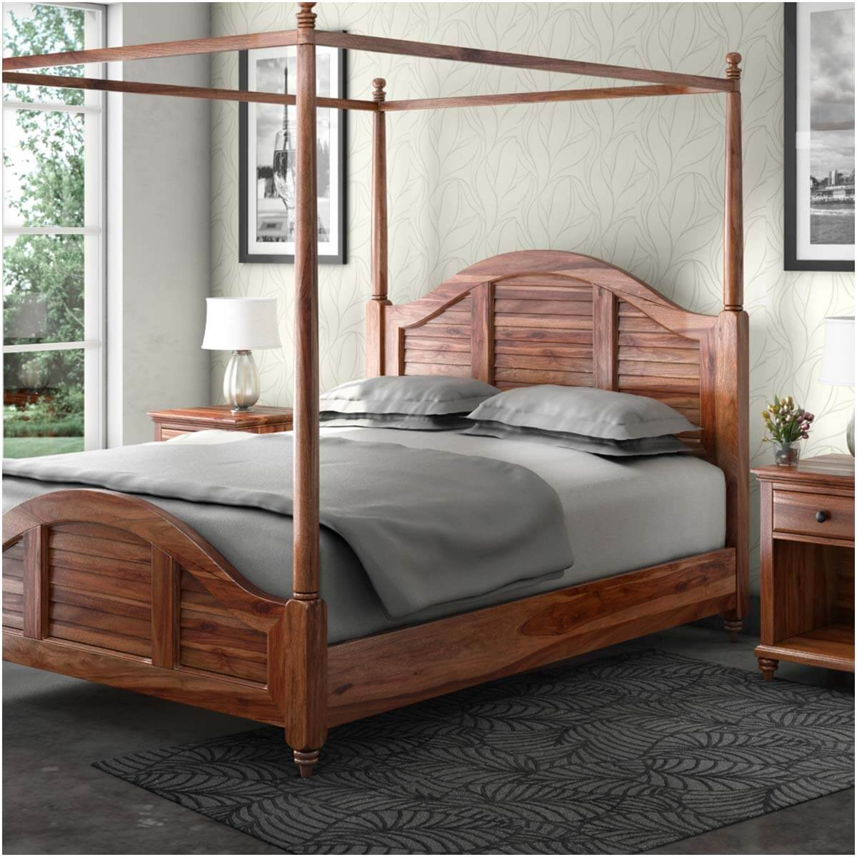 Livingston Handcrafted Solid Wood Platform Canopy Bed