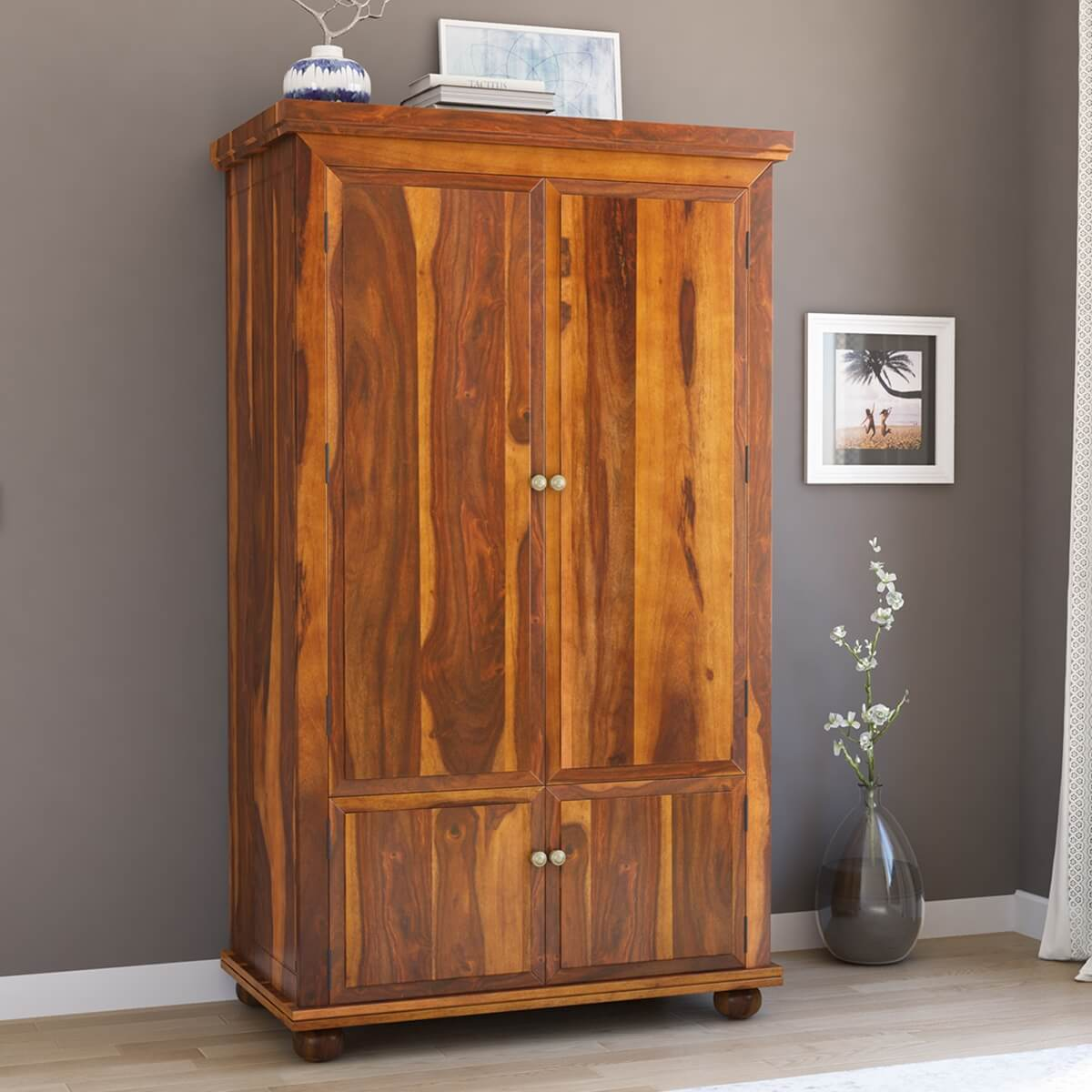 Pecos 4 door solid wood armoire storage cabinet for Solid wood cabinets
