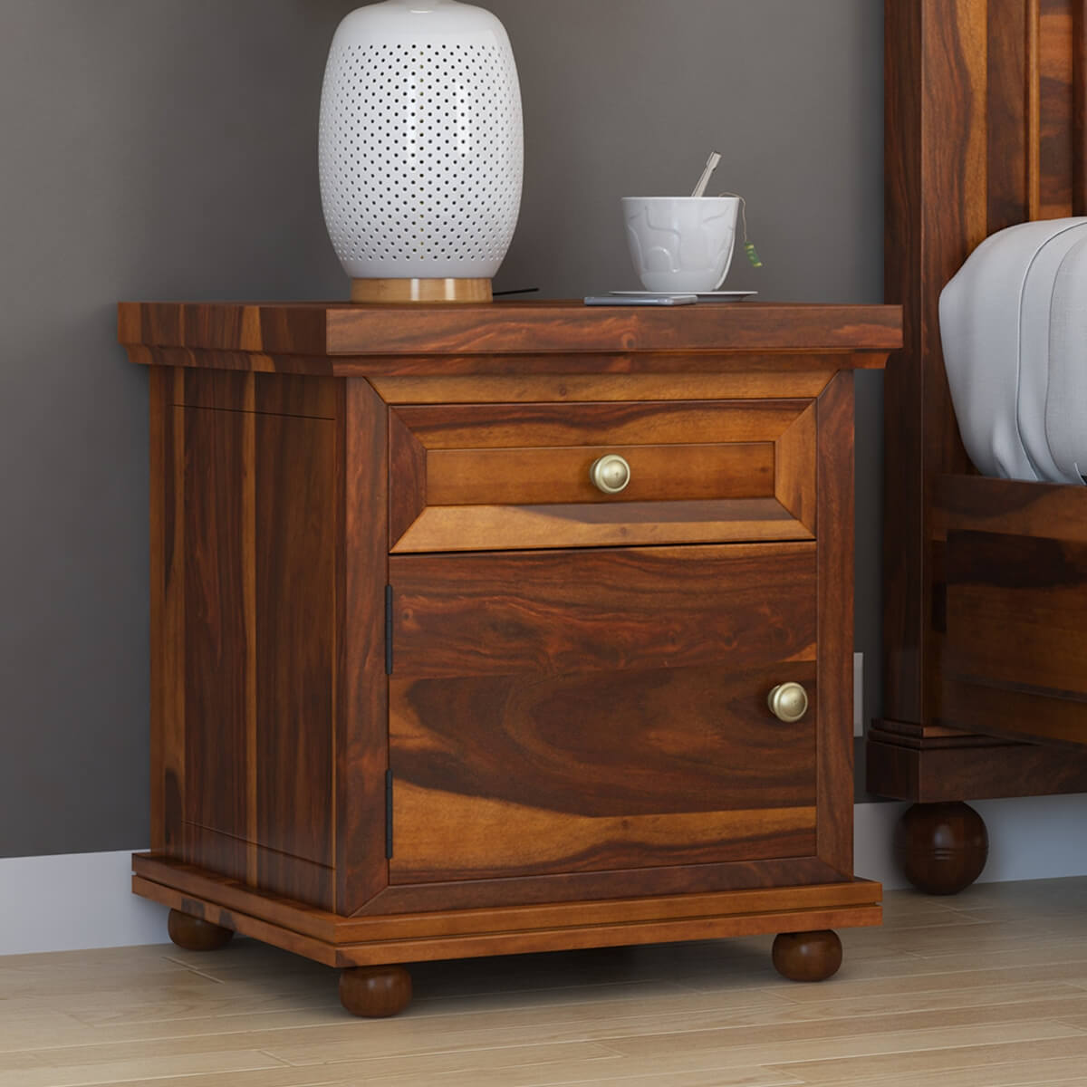Nightstand with drawer drawers rustic nightstand metal for Rustic nightstand ideas