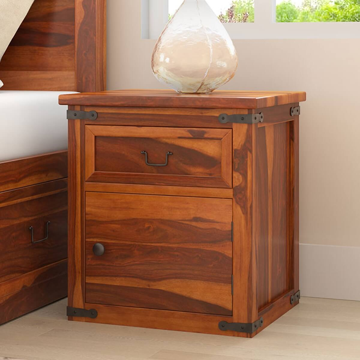 Classic shaker solid wood nightstand w drawer cabinet for Wood nightstand with drawers