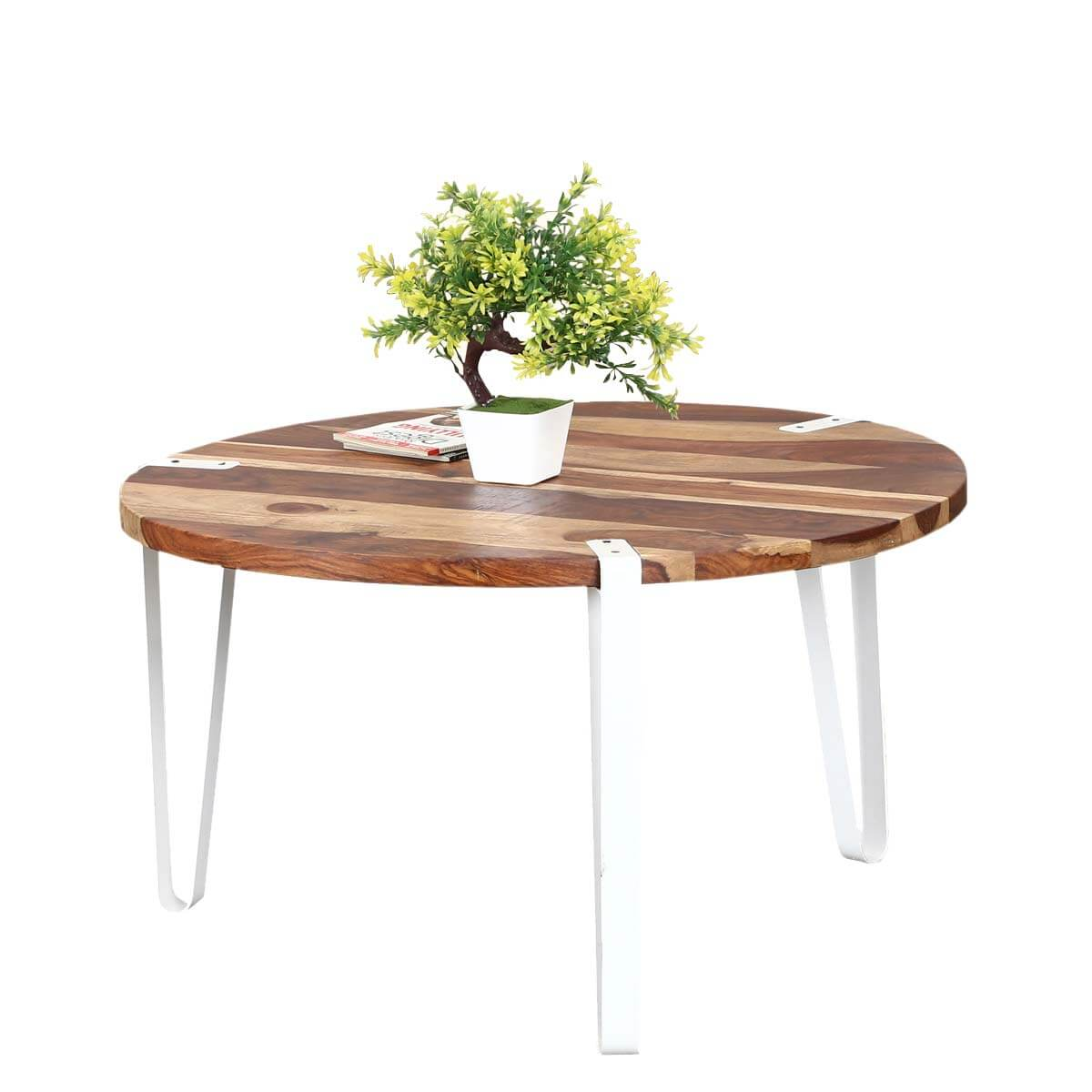 Modern Zebra Solid Wood Iron Round Accent Coffee Table