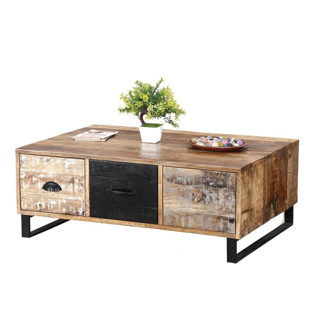 Industrial Pioneer Mango Wood Iron Coffee Table 3 Drawer Chest