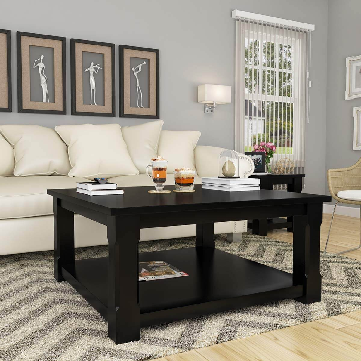 Rustic solid wood black 2 tier square shaker coffee table Rustic black coffee table