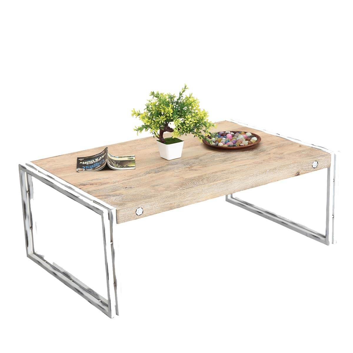 Winter White Industrial Mango Wood Iron 43 5 Coffee Table