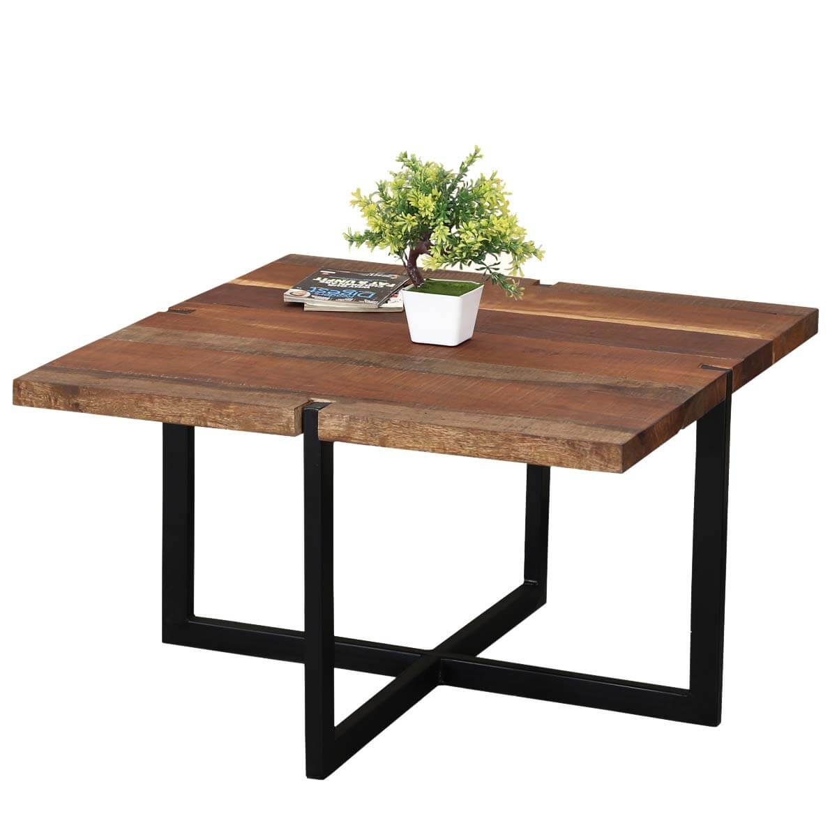 Industrial Simplicity Reclaimed Wood Iron 32 Square Coffee Table