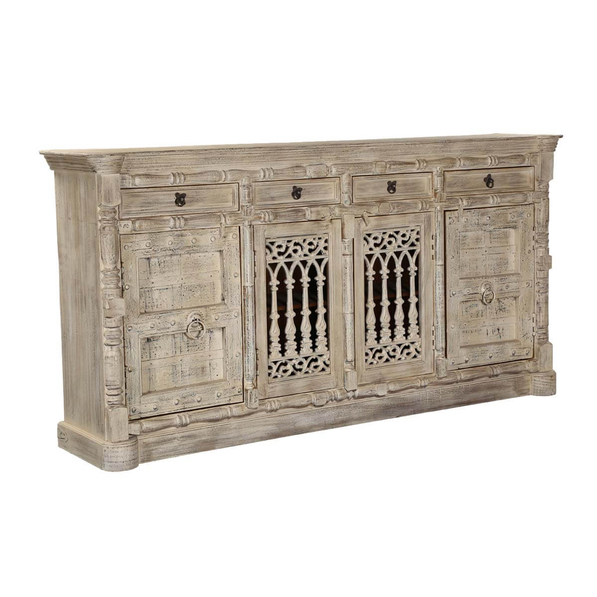 """Palazzo 88"""" Rustic Light Brown 4 Door Solid Wood Buffet Sideboard. Full resolution  picture, nominally Width 1200 Height 1200 pixels, picture with #B58716."""