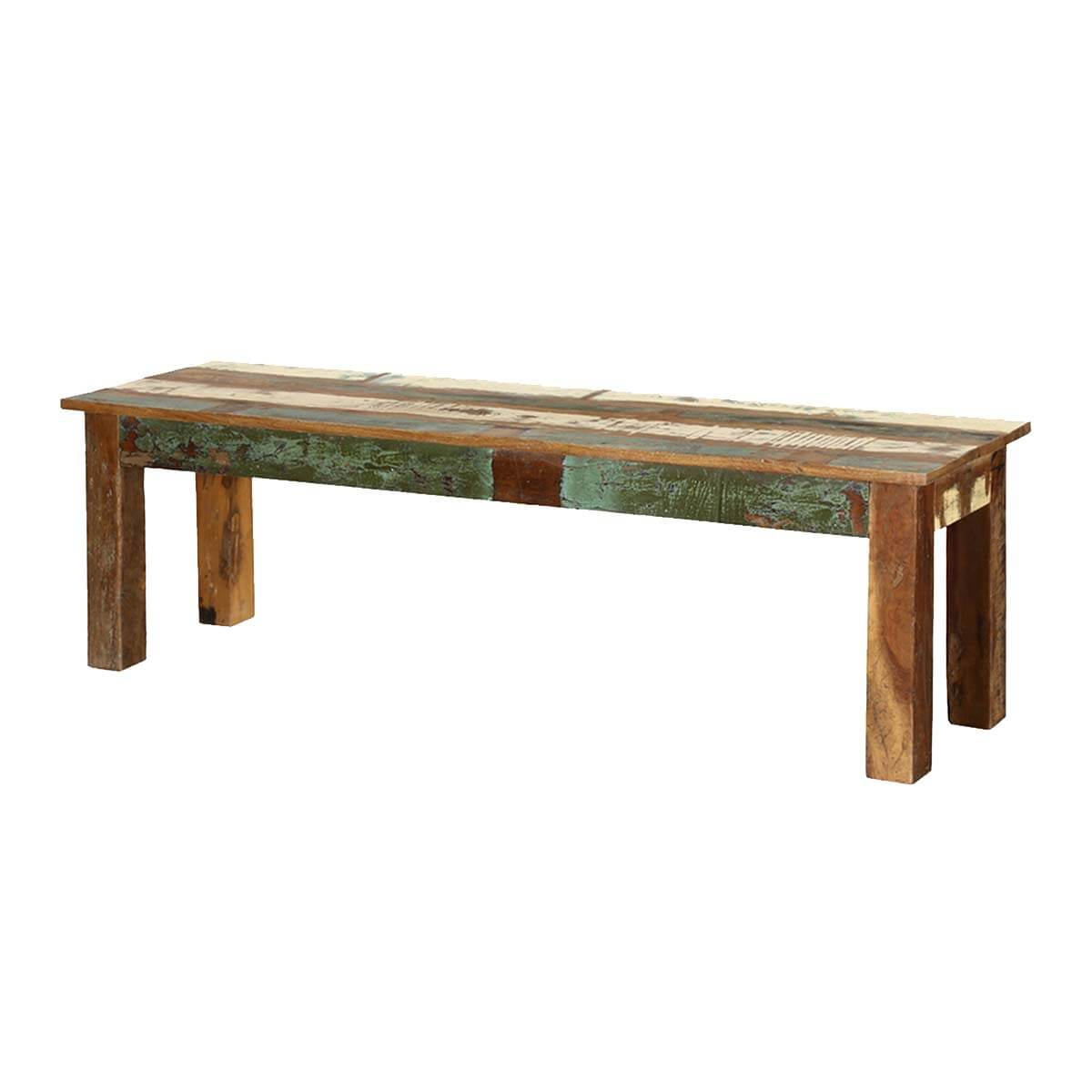 Rustic Rainbow Reclaimed Wood 58 Long Bench