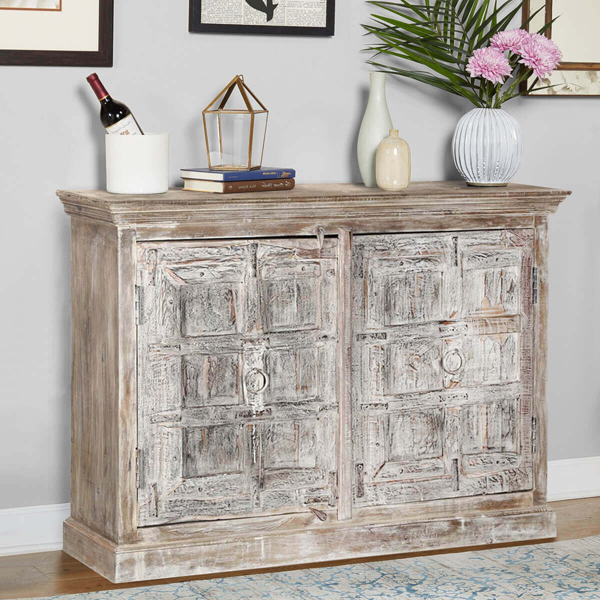 Distressed Wood Buffet ~ Palazzo distressed reclaimed wood rustic dining buffet cabinet