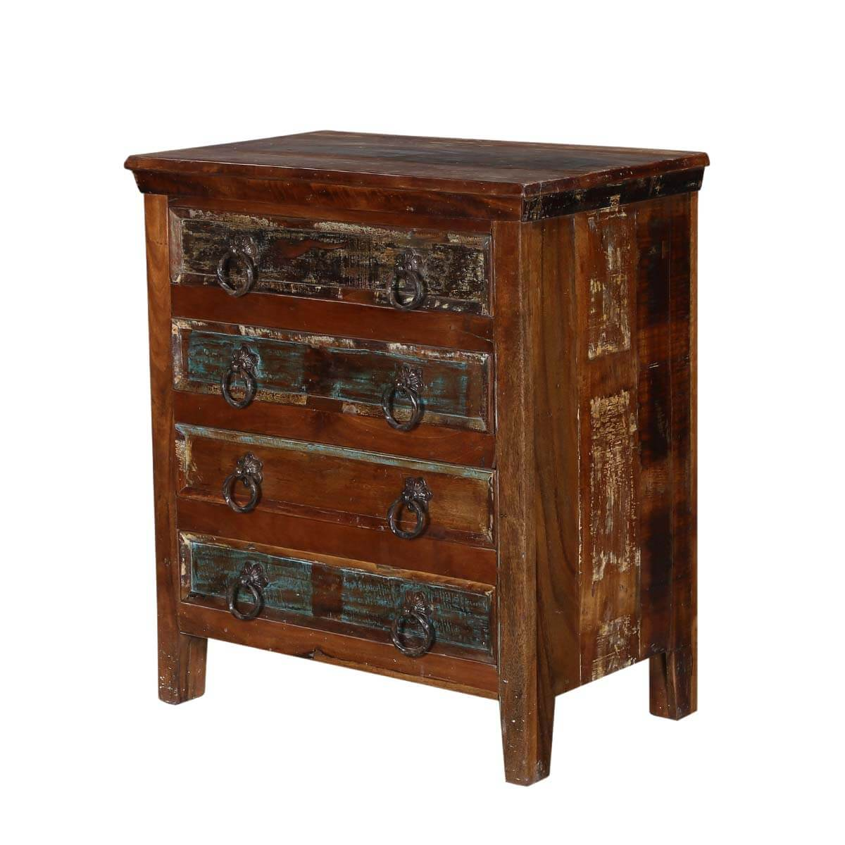 turquoise trail 30 rustic 4 drawer medium brown nightstand table. Black Bedroom Furniture Sets. Home Design Ideas