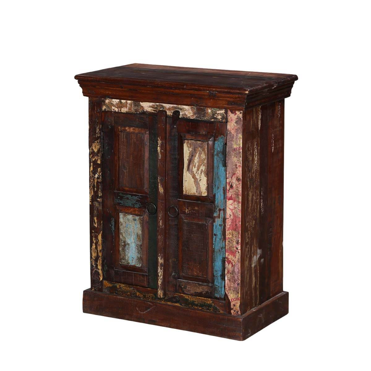 Turquoise trail 30 rustic reclaimed wood nightstand table for Rustic wood nightstand