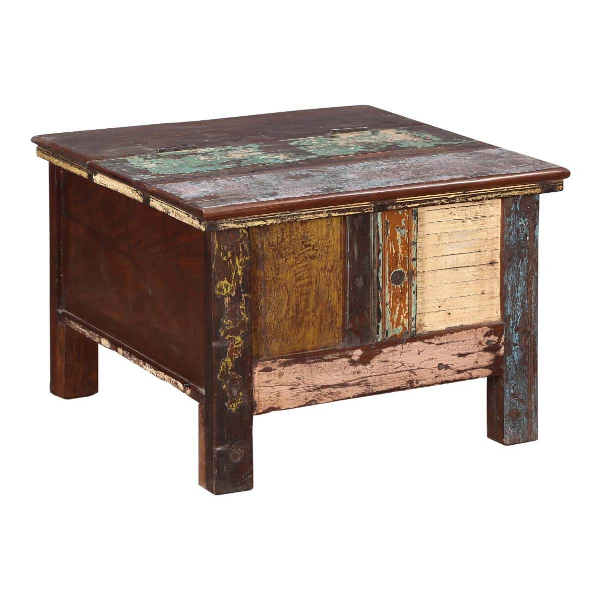 Rustic Patches Reclaimed Wood Standing Coffee Table Chest