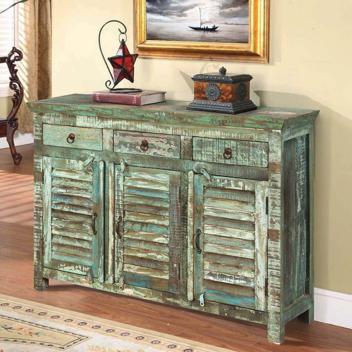 Turquoise Trail Light Green Slat Design 3 Door Buffet Accent Cabinet. Full resolution  picture, nominally Width 1200 Height 1200 pixels, picture with #AB8B20.