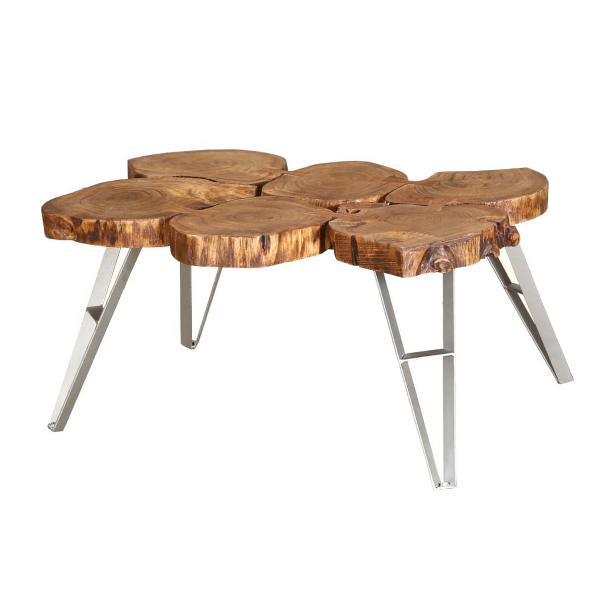 Industrial rustic mango wood iron rolling coffee table for Rustic iron table legs