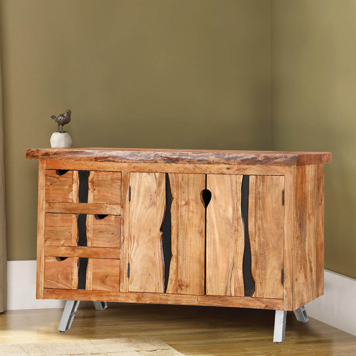 Saturn acacia wood live edge 3 drawer sideboard cabinet for Acacia wood kitchen cabinets