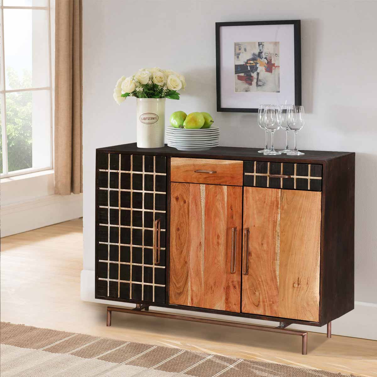 Victoria acacia wood sideboard storage cabinet with drawers for Acacia wood kitchen cabinets