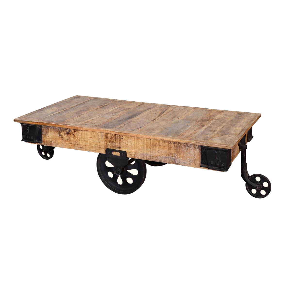 Rustic Wood Pallet Coffee Table: Industrial Rustic Mango Wood & Iron Rolling Coffee Table