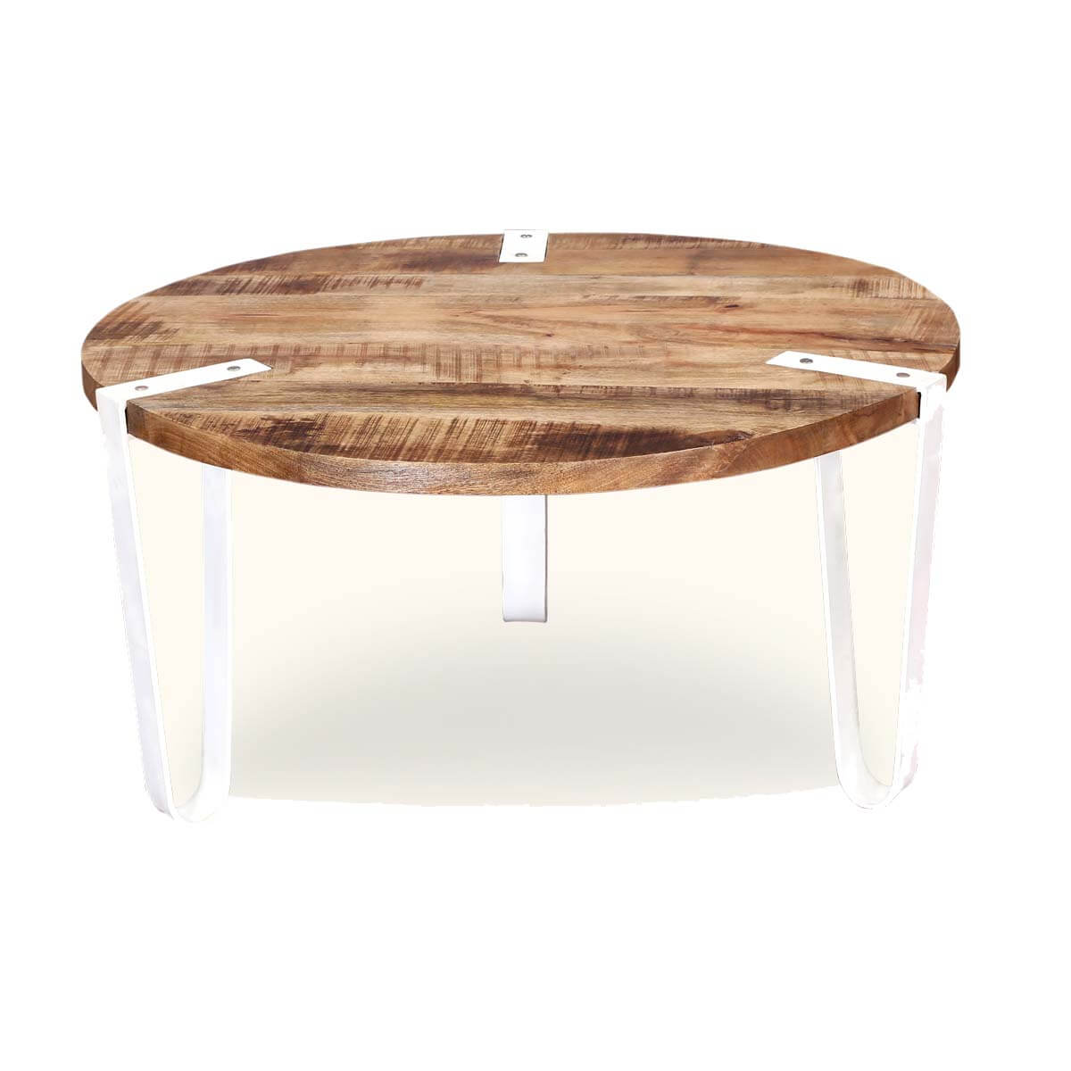 Very Impressive portraiture of Victoria Mango Wood Top & White Iron Legs Round Accent Coffee Table with #9B7E30 color and 1200x1200 pixels