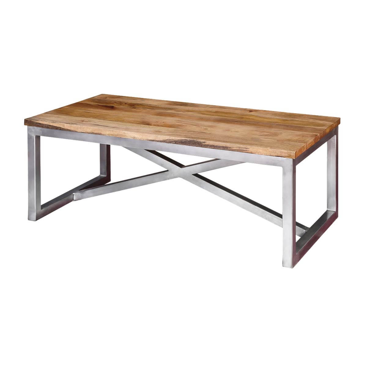 Lisbon Mango Wood Industrial Accent Coffee Table With Iron Legs