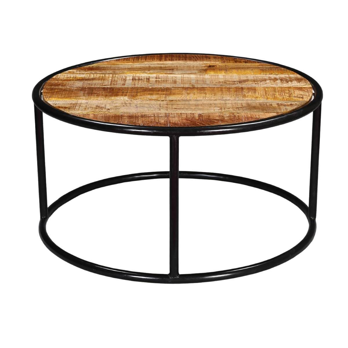 Laura Mango Wood Round Accent Coffee Table With Iron Legs