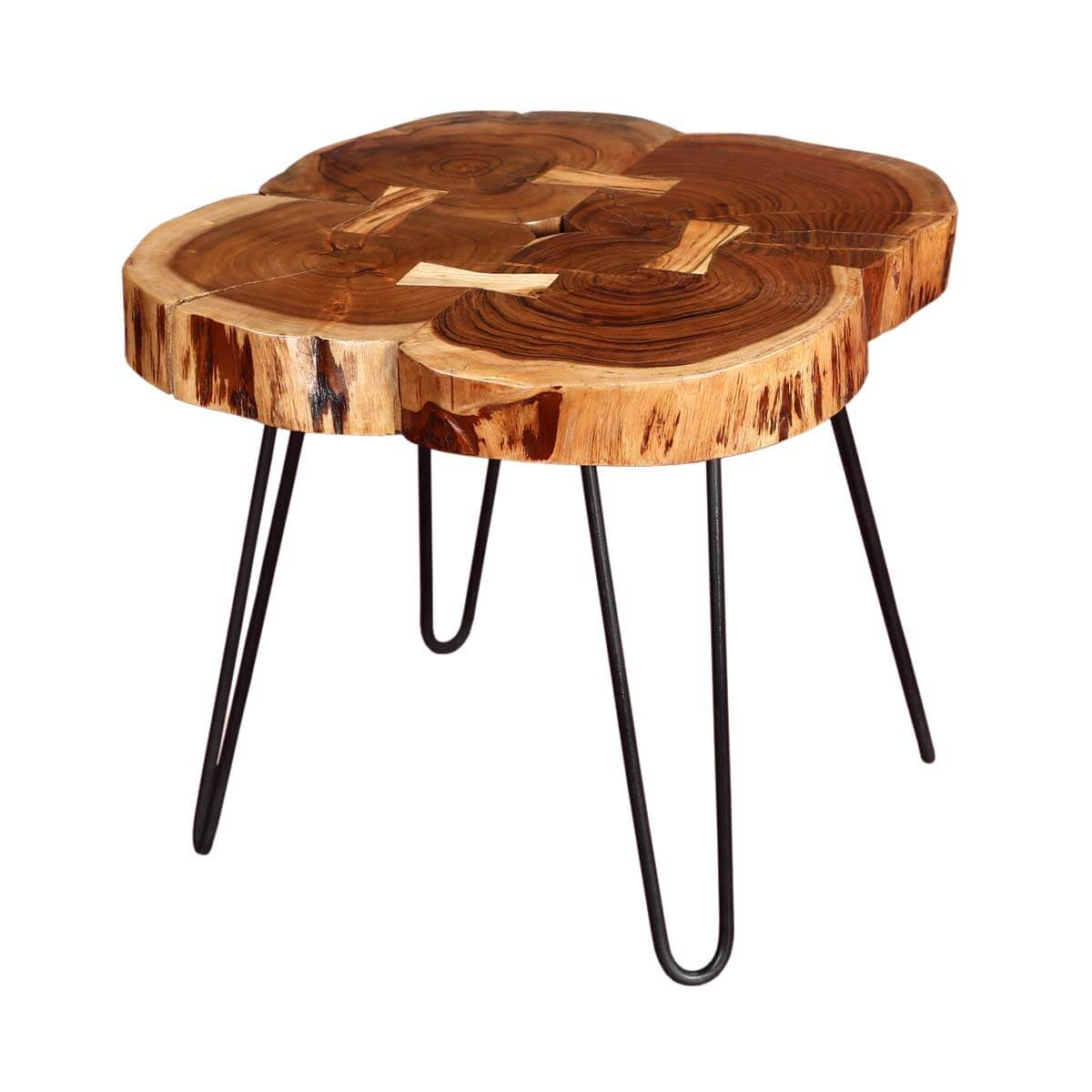 Tree rings rosewood iron accent end table