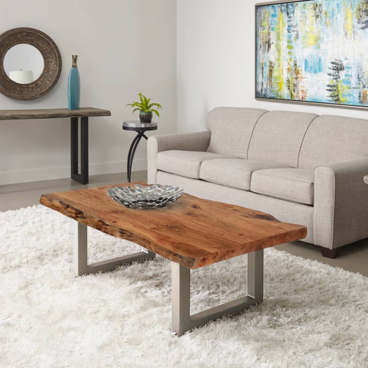 "Dining Room Stylish Natural Wood Coffee Tables Rustic: Natural Edge Acacia Wood & Steel 55"" Long Coffee Table"