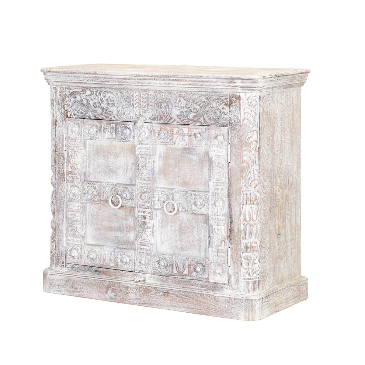 Buena Frosted White Rustic Mango Wood 2 Door Buffet