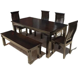 Rustic 8 Person Large Kitchen Dining Table Solid Wood 9 Pc: Rustic Solid Wood Casual Dining Table Chair Set W Bench