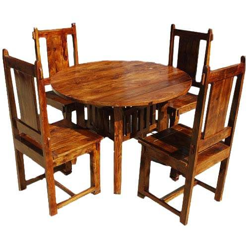 Rustic Mission Santa Cruz Solid Wood Dining Room Set For 4: Sierra Nevada Large Round Rustic Solid Wood Dining Table