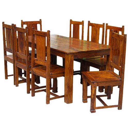Solid Wood Transitional Dining Table And Chairs Set: Rustic Furniture Solid Wood Dining Table & Chair Set