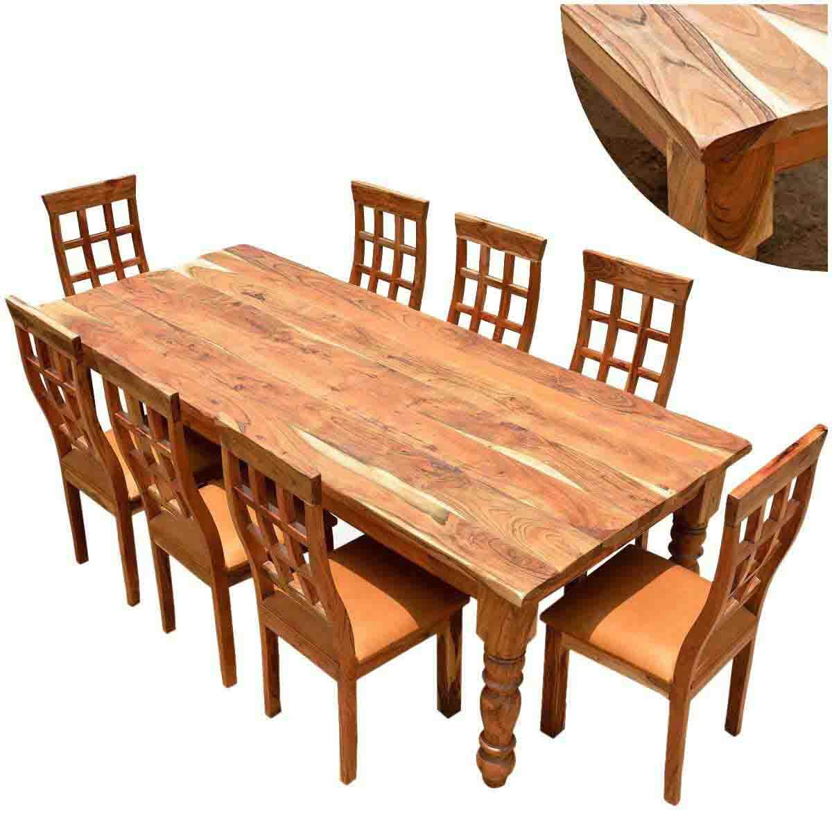 Rustic Solid Wood Large Square Dining Table Chair Set: Rustic Dining Table And Chair Sets