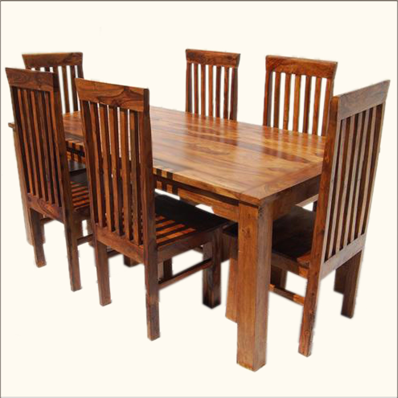 rustic 7pc dining table 6 chairs set solid wood furniture new ebay