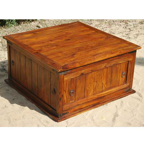 solid square storage trunk chest sofa wood coffee table