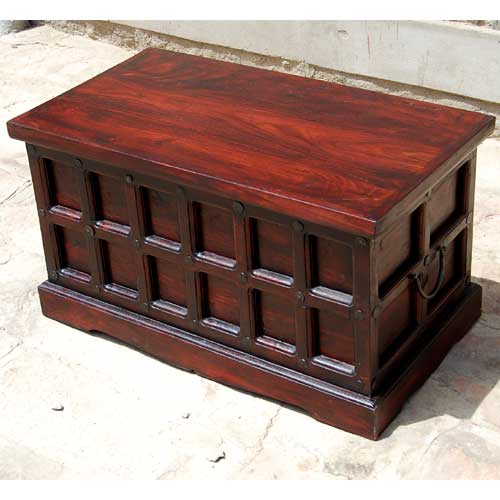Solid wood storage box trunk toy chest cherry coffee table wrought iron hardware Coffee table chest with storage