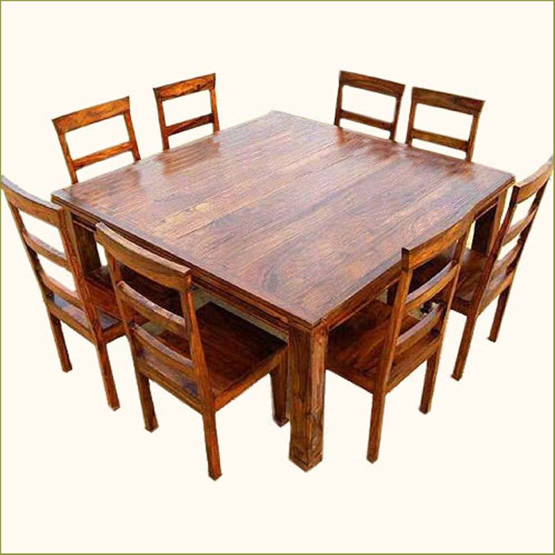 Rustic 9 pc square dining room table for 8 person seat for Dining room tables 8 seats