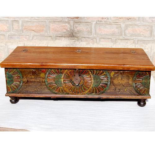 Wood Hand Carved Ethnic Storage Trunk Sofa Coffee Table Ebay