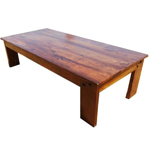 1E. Wood Large Rustic Sofa Coffee Cocktail Table