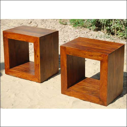 1I. Solid Wood Block Coffee Table Book shelf Bed Side Table Set