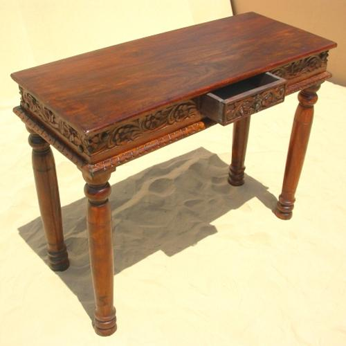 Solid Wood Sofa Table ~ Rustic wood sofa entry hall foyer carved console table