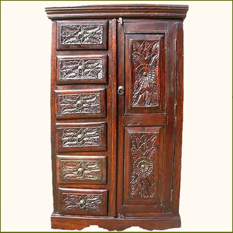 Solid wood mahogany clothing armoire wardrobe cabinet
