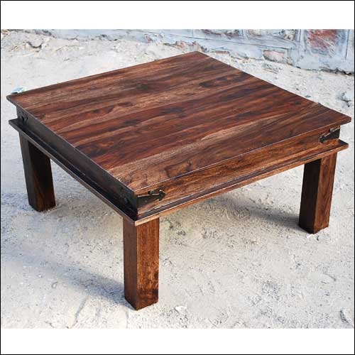 35 rustic large square coffee table espresso solid wooden for Large wood coffee table square
