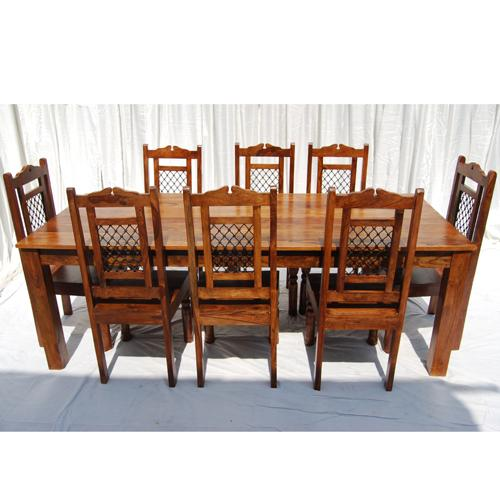 "Rustic Furniture Solid Wood Large Dining Table 8 Chair Set: 88"" Long 9pc Wood Large Rustic Dining Room Kitchen Table 8"