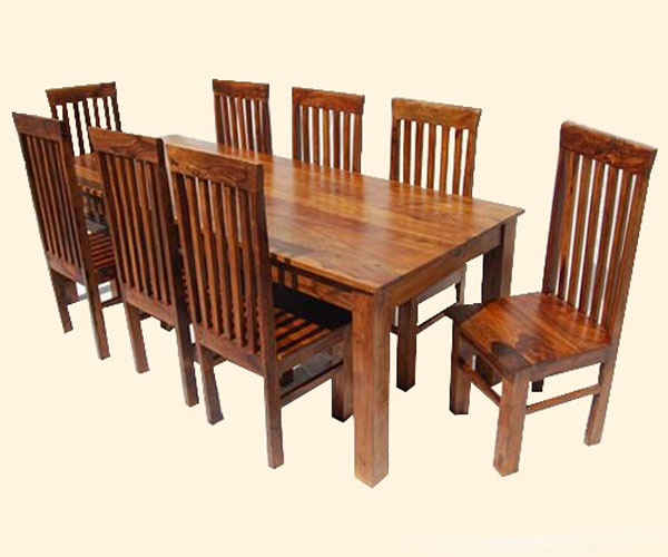 Large 9pc kitchen dining table and chairs solid hardwood for Classic concepts furniture california