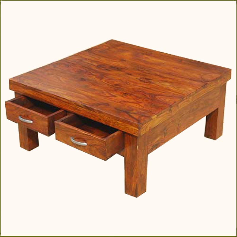 1A. Solid Wood Rustic 4 Drawers Square Storage Coffee Table