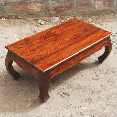 1A. Solid Natural Rustic Wood Coffee Cocktail Sofa Table