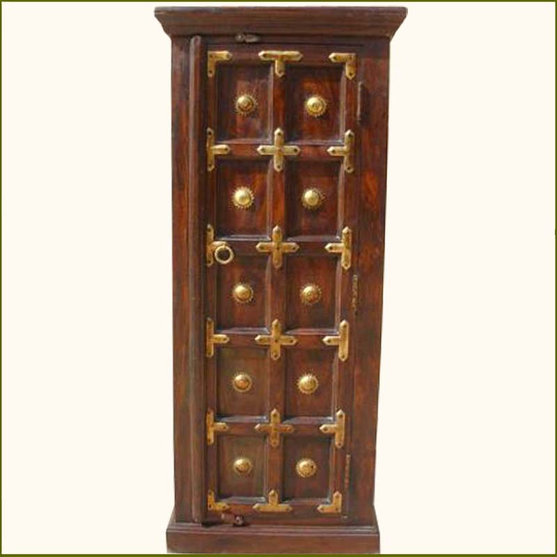 1I. Antique Heritage Brass Accents Wood Storage Cabinet NEW