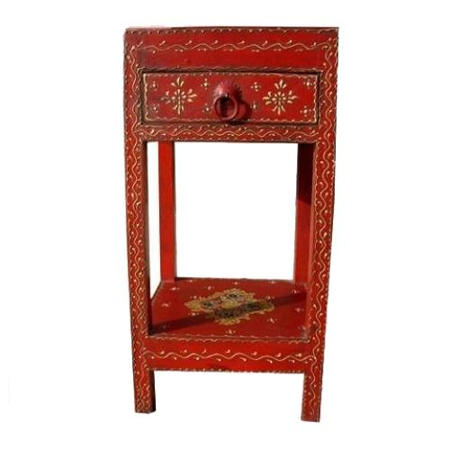 1F. Distressed Hand Painted Bed Side End Table Nightstand